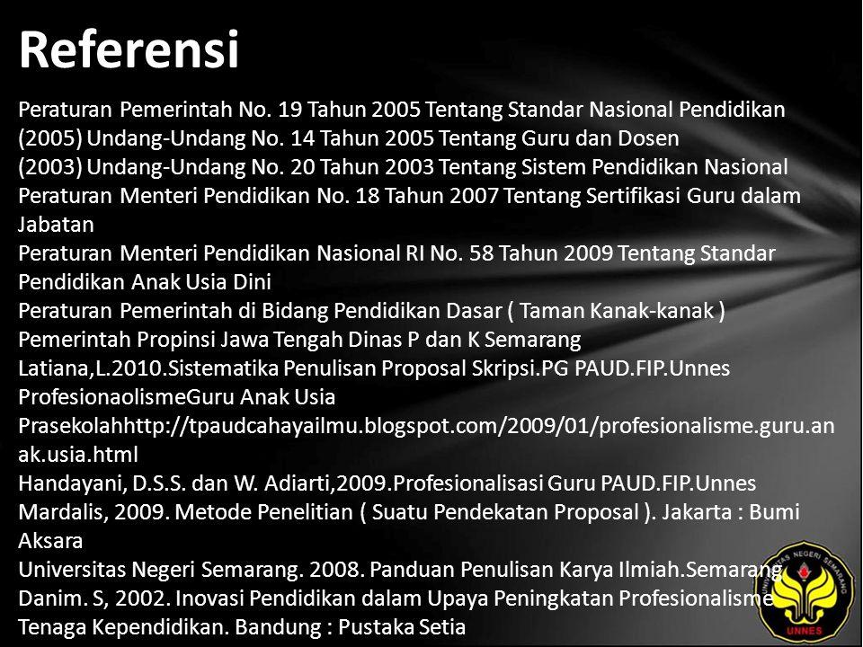Referensi Peraturan Pemerintah No. 19 Tahun 2005 Tentang Standar Nasional Pendidikan (2005) Undang-Undang No. 14 Tahun 2005 Tentang Guru dan Dosen (20