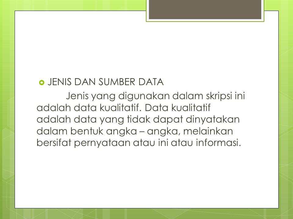  JENIS DAN SUMBER DATA Jenis yang digunakan dalam skripsi ini adalah data kualitatif. Data kualitatif adalah data yang tidak dapat dinyatakan dalam b