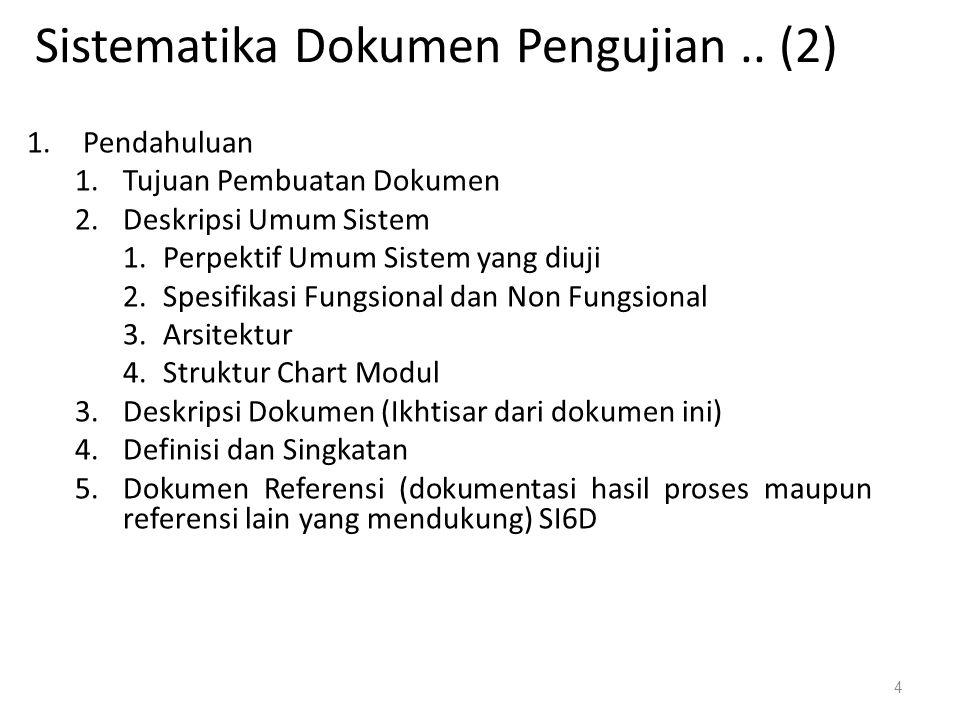 Sistematika Dokumen Pengujian..
