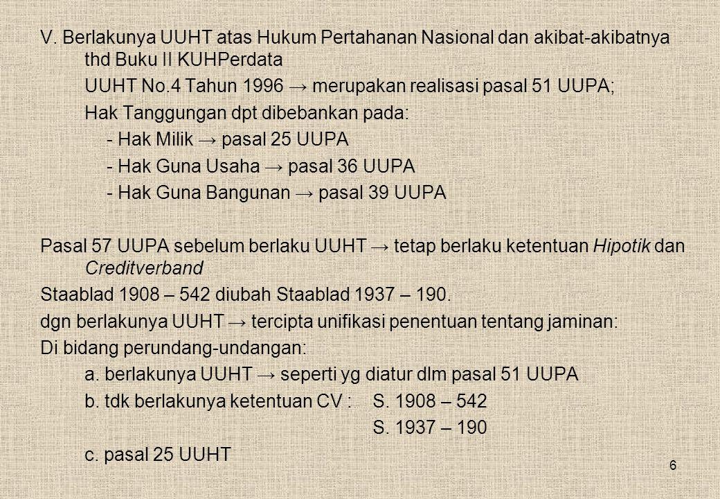 6 V. Berlakunya UUHT atas Hukum Pertahanan Nasional dan akibat-akibatnya thd Buku II KUHPerdata UUHT No.4 Tahun 1996 → merupakan realisasi pasal 51 UU