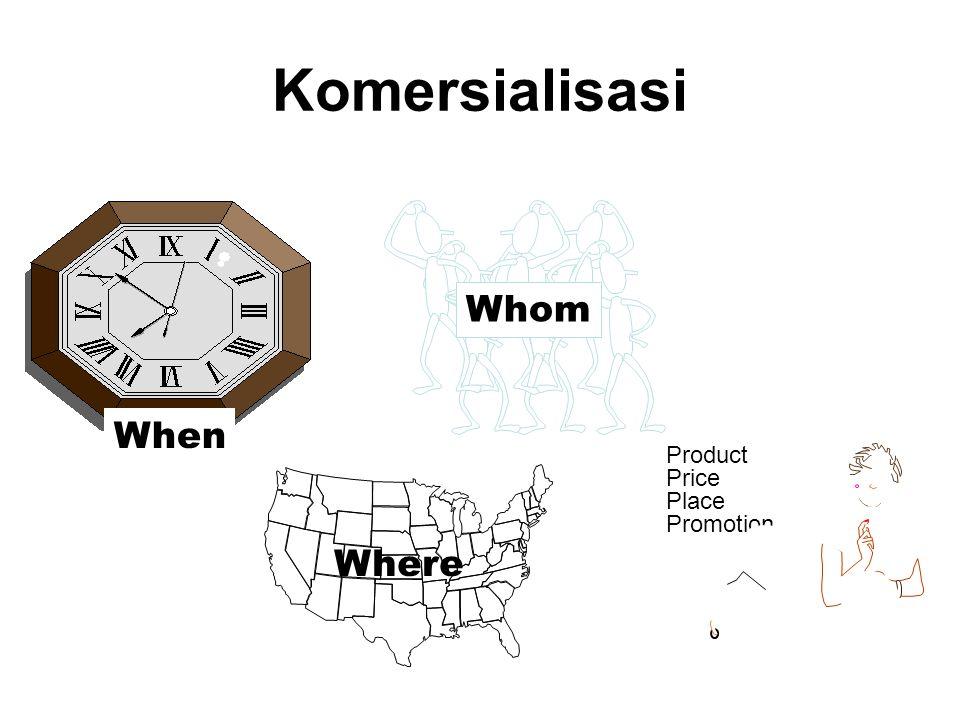 Komersialisasi Kapan (penentuan waktu) 1.Masuk pertama : menguasai distributor, pelanggan penting dan sebagai pemimpin pasar 2.Masuk bersamaan : masuknya sama- sama dengan pesaing 3.Masuk terlambat : menunda peluncuran sampai pesaing masuk
