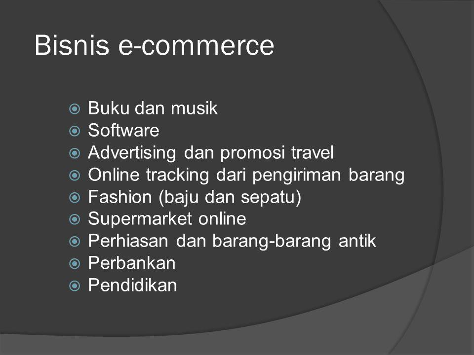Bisnis e-commerce  Buku dan musik  Software  Advertising dan promosi travel  Online tracking dari pengiriman barang  Fashion (baju dan sepatu)  Supermarket online  Perhiasan dan barang-barang antik  Perbankan  Pendidikan