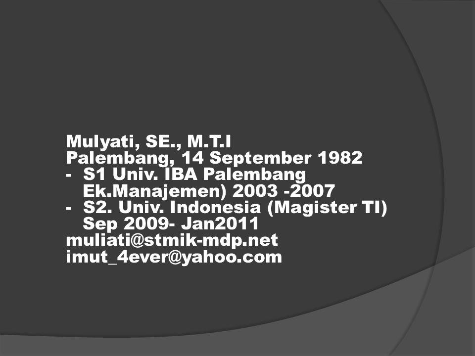 Mulyati, SE., M.T.I Palembang, 14 September 1982 - S1 Univ.