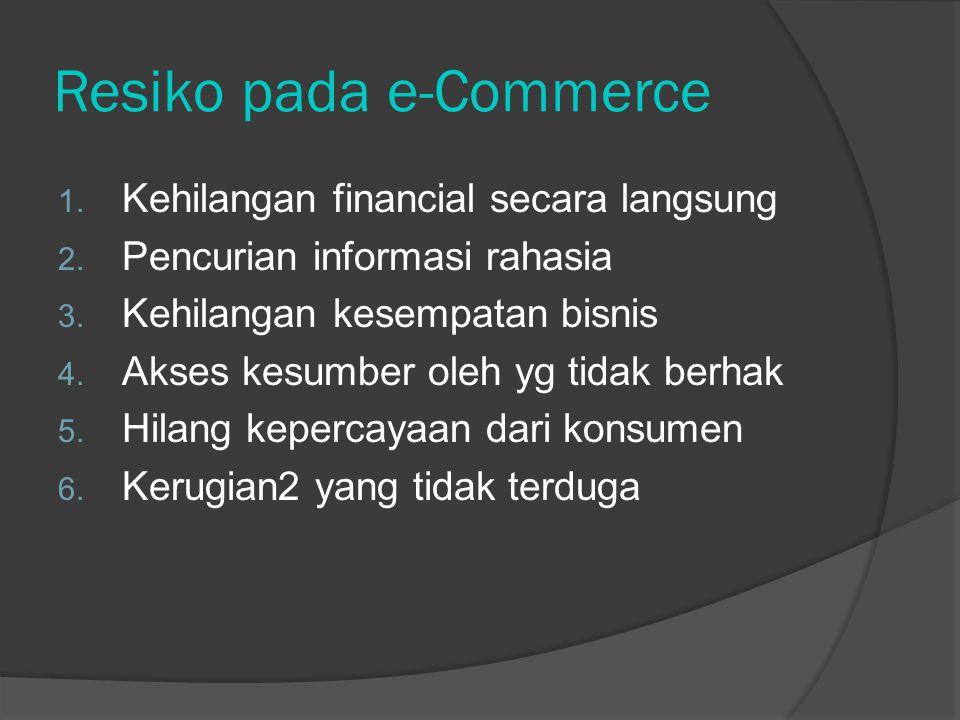 Resiko pada e-Commerce 1. Kehilangan financial secara langsung 2.