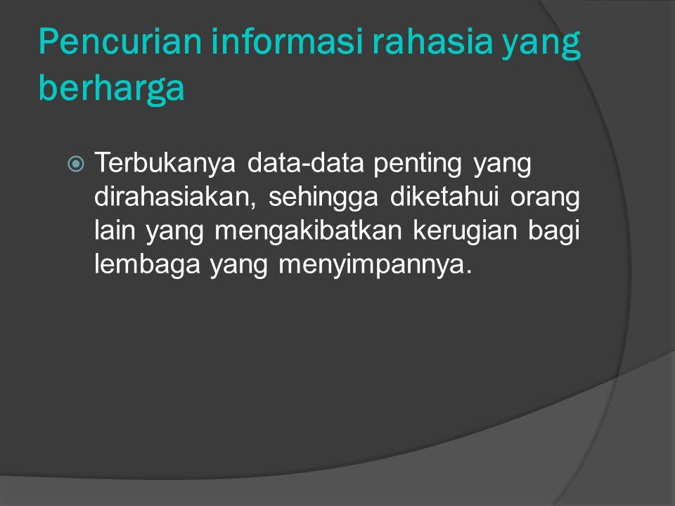 Pencurian informasi rahasia yang berharga  Terbukanya data-data penting yang dirahasiakan, sehingga diketahui orang lain yang mengakibatkan kerugian bagi lembaga yang menyimpannya.