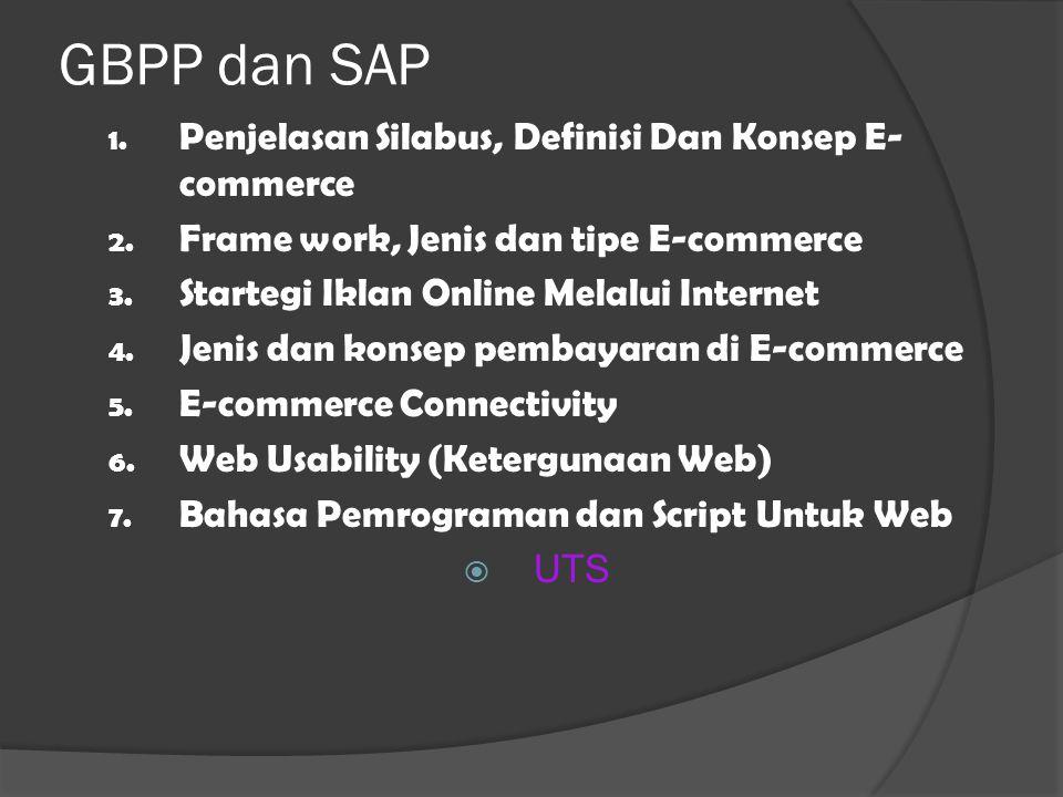 GBPP dan SAP 1. Penjelasan Silabus, Definisi Dan Konsep E- commerce 2.