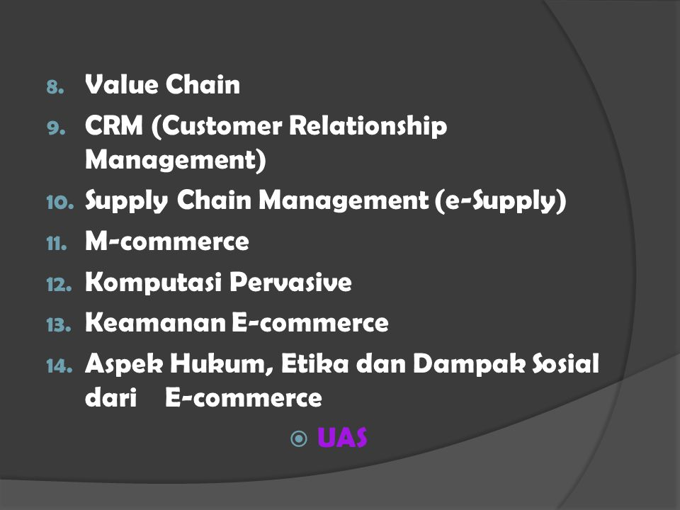 8. Value Chain 9. CRM (Customer Relationship Management) 10.