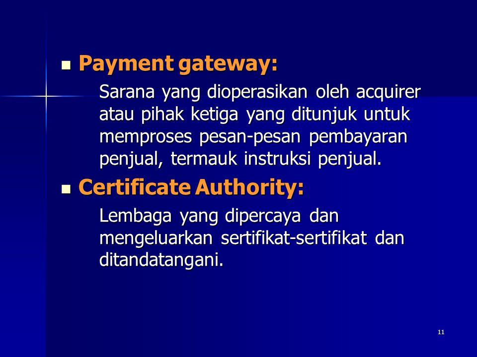 11 Payment gateway: Payment gateway: Sarana yang dioperasikan oleh acquirer atau pihak ketiga yang ditunjuk untuk memproses pesan-pesan pembayaran pen