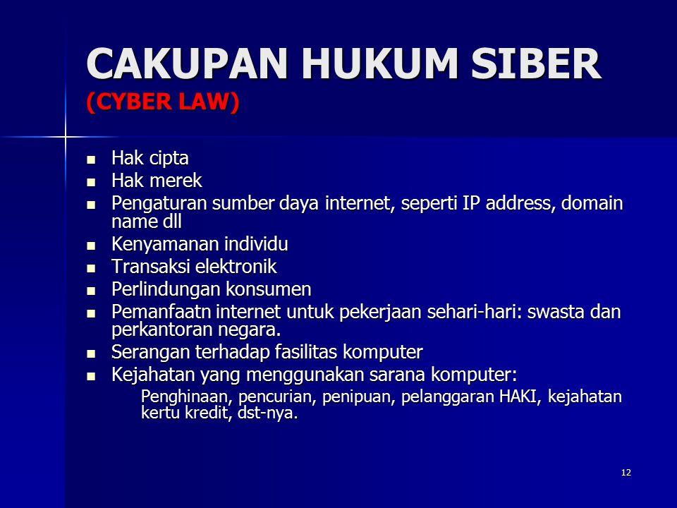 12 CAKUPAN HUKUM SIBER (CYBER LAW) Hak cipta Hak cipta Hak merek Hak merek Pengaturan sumber daya internet, seperti IP address, domain name dll Pengat