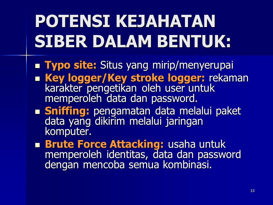 13 POTENSI KEJAHATAN SIBER DALAM BENTUK: Typo site: Situs yang mirip/menyerupai Typo site: Situs yang mirip/menyerupai Key logger/Key stroke logger: r
