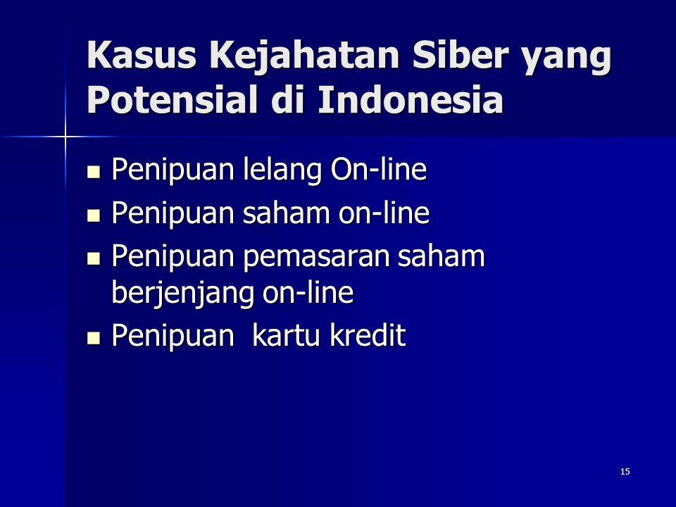 15 Kasus Kejahatan Siber yang Potensial di Indonesia Penipuan lelang On-line Penipuan lelang On-line Penipuan saham on-line Penipuan saham on-line Pen
