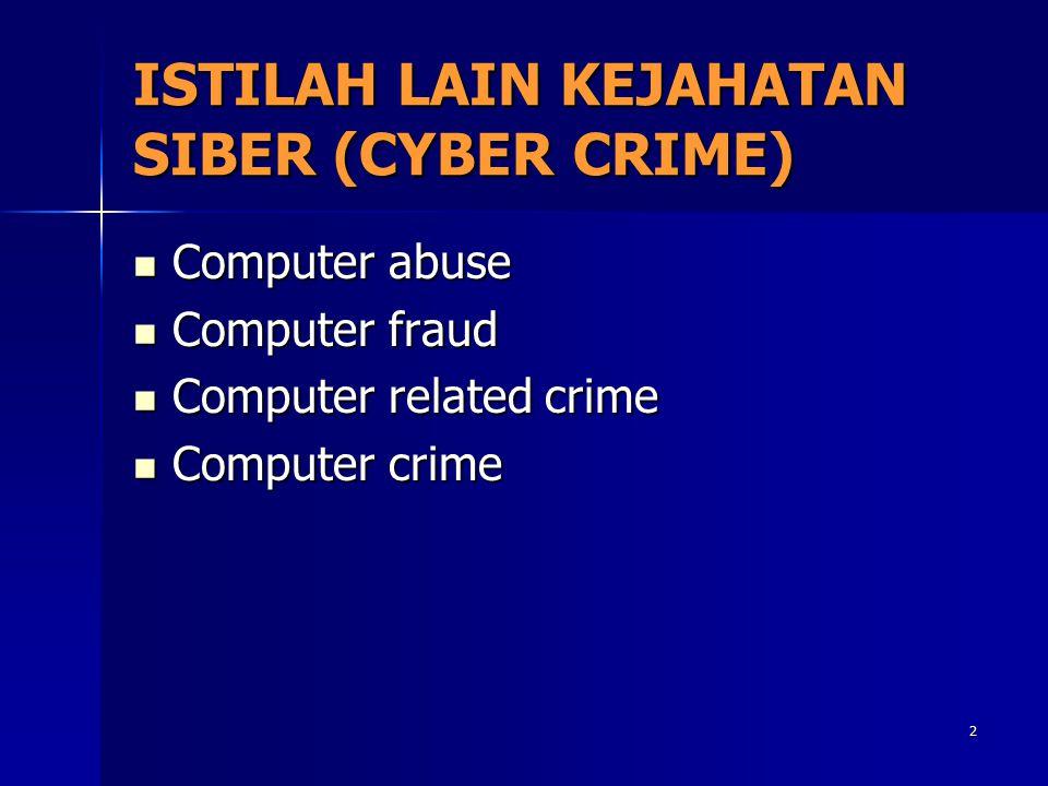 2 ISTILAH LAIN KEJAHATAN SIBER (CYBER CRIME) Computer abuse Computer abuse Computer fraud Computer fraud Computer related crime Computer related crime