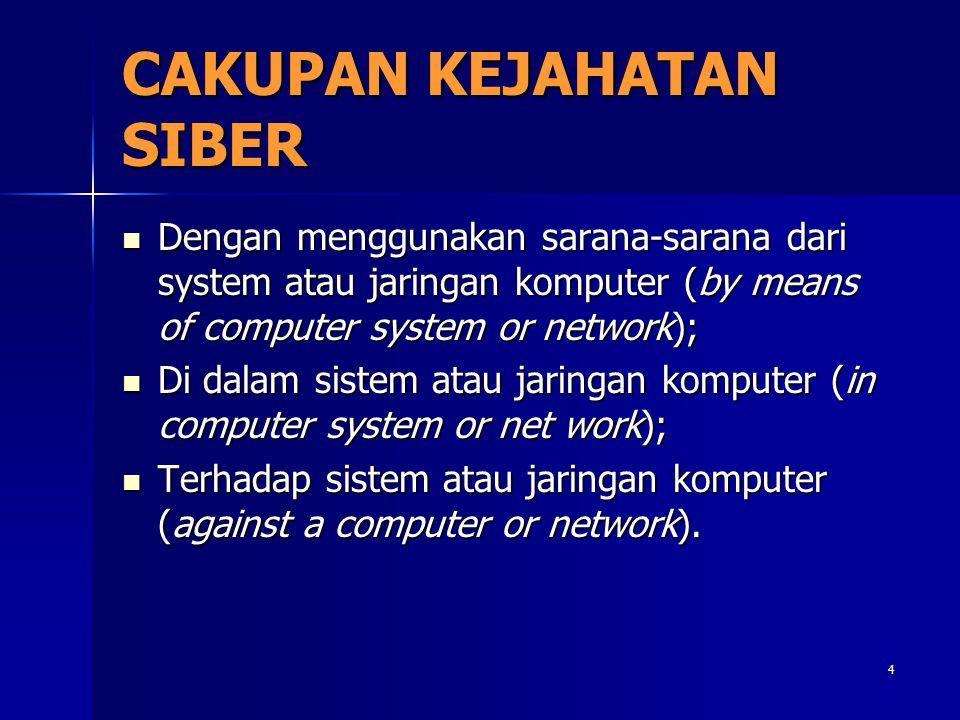 4 CAKUPAN KEJAHATAN SIBER Dengan menggunakan sarana-sarana dari system atau jaringan komputer (by means of computer system or network); Dengan menggun