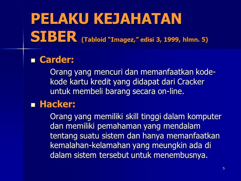 """5 PELAKU KEJAHATAN SIBER (Tabloid """"Imagez,"""" edisi 3, 1999, hlmn. 5) Carder: Carder: Orang yang mencuri dan memanfaatkan kode- kode kartu kredit yang d"""