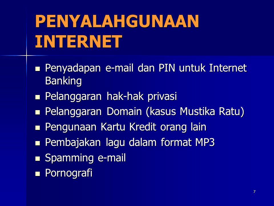 7 PENYALAHGUNAAN INTERNET Penyadapan e-mail dan PIN untuk Internet Banking Penyadapan e-mail dan PIN untuk Internet Banking Pelanggaran hak-hak privas