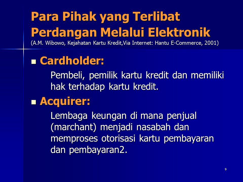 9 Para Pihak yang Terlibat Perdangan Melalui Elektronik (A.M. Wibowo, Kejahatan Kartu Kredit,Via Internet: Hantu E-Commerce, 2001) Cardholder: Cardhol