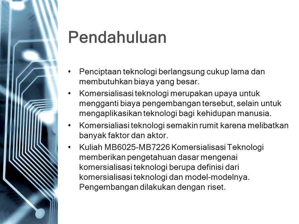 Topik 1.Konsep Teknologi 2.Komersialisasi Teknologi 3.Model-model dan Tahapan Komersialisasi Teknologi 4.Peran Perguruan Tinggi dalam Komersialisasi Teknologi 5.Peran Pemerintah dalam Komersialisasi Teknologi 6.Peran Swasta dalam Komersialisasi Teknologi 7.Inkubasi Bisnis berbasis Teknologi 8.Peraturan Mengenai Komersialisasi Teknologi 9.Perilaku Konsumen dalam Adopsi Teknologi 10.Pengaruh Karakter Teknologi dalam Komersialisasi Teknologi 11.Pengaruh Organisasi dalam Komersialisasi Teknologi 12.Pengaruh Konteks dalam Komersialisasi Teknologi