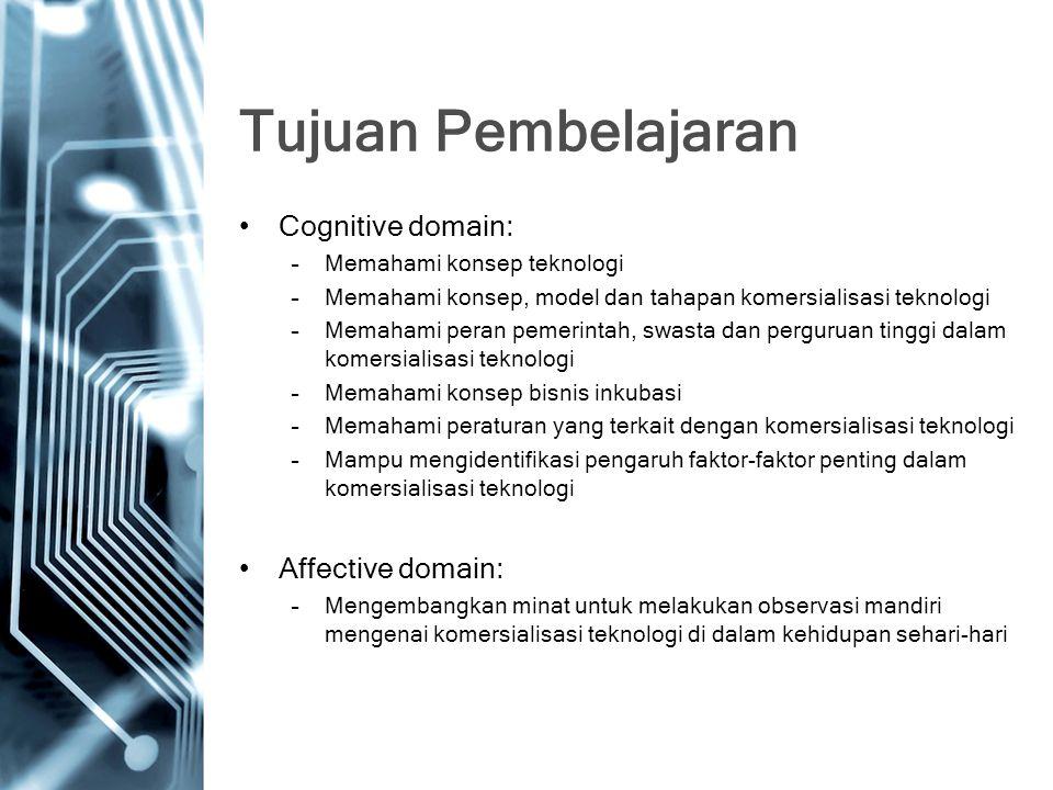 Tujuan Pembelajaran Cognitive domain: –Memahami konsep teknologi –Memahami konsep, model dan tahapan komersialisasi teknologi –Memahami peran pemerintah, swasta dan perguruan tinggi dalam komersialisasi teknologi –Memahami konsep bisnis inkubasi –Memahami peraturan yang terkait dengan komersialisasi teknologi –Mampu mengidentifikasi pengaruh faktor-faktor penting dalam komersialisasi teknologi Affective domain: –Mengembangkan minat untuk melakukan observasi mandiri mengenai komersialisasi teknologi di dalam kehidupan sehari-hari