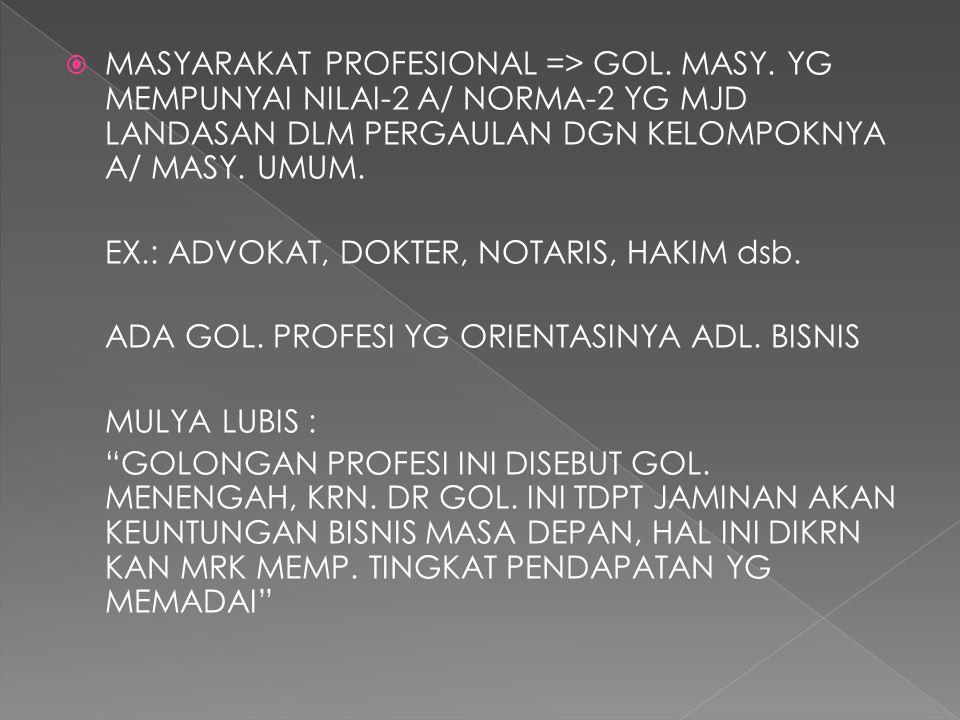  MASYARAKAT PROFESIONAL => GOL.MASY.