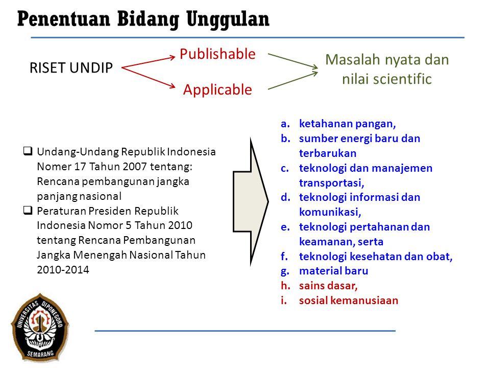 Penentuan Bidang Unggulan (2)  UU RI No.17 th 2007  PerPres RI No.