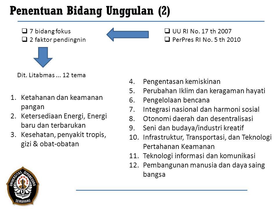 Penentuan Bidang Unggulan (3) Bidang unggulan: Pengembangan dan pemberdayaan sumber daya lokal Indonesia untuk kemandirian pasokan pangan, air, energi dan obat-obatan yang berkelanjutan serta perluasan produk-produk unggulan dan penambahan nilai industri Spin off: Komersialisasi Fokus bidang penelitian UNDIP: 7 (tujuh) bidang fokus dan 2 (dua) faktor pendukung keberhasilan yang disesuaikan dengan potensi dan kapasitas UNDIP (RPJMN dan RPJPN) Riset dasar Riset Terapan Riset Unggulan: Difusi dan pemanfaatan iptek