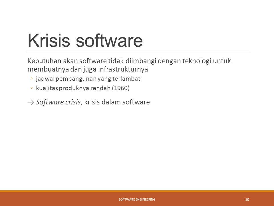 Krisis software Kebutuhan akan software tidak diimbangi dengan teknologi untuk membuatnya dan juga infrastrukturnya ◦jadwal pembangunan yang terlambat