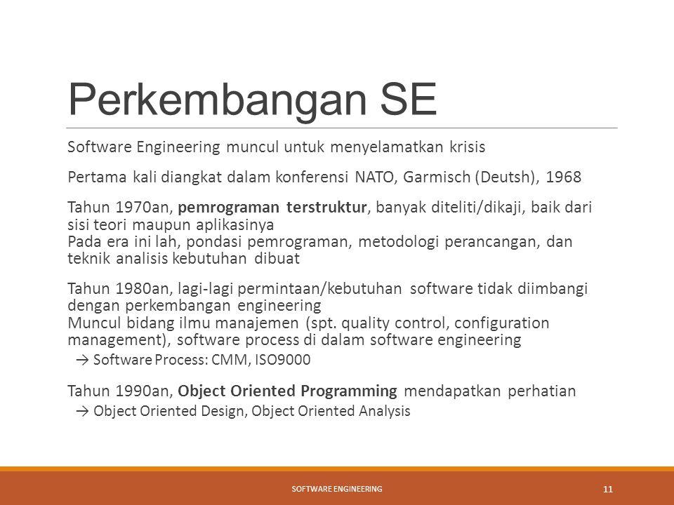 Perkembangan SE Software Engineering muncul untuk menyelamatkan krisis Pertama kali diangkat dalam konferensi NATO, Garmisch (Deutsh), 1968 Tahun 1970