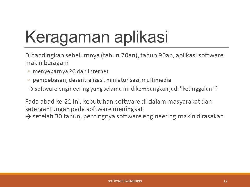 Keragaman aplikasi Dibandingkan sebelumnya (tahun 70an), tahun 90an, aplikasi software makin beragam ◦menyebarnya PC dan Internet ◦pembebasan, desentr