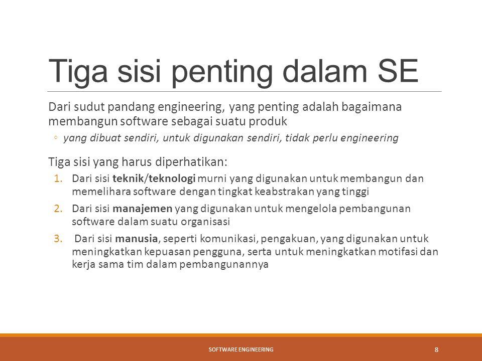 Tiga sisi penting dalam SE Dari sudut pandang engineering, yang penting adalah bagaimana membangun software sebagai suatu produk ◦yang dibuat sendiri,