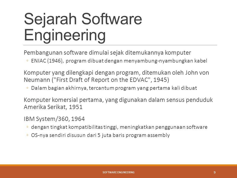 Sejarah Software Engineering Pembangunan software dimulai sejak ditemukannya komputer ◦ENIAC (1946), program dibuat dengan menyambung-nyambungkan kabe