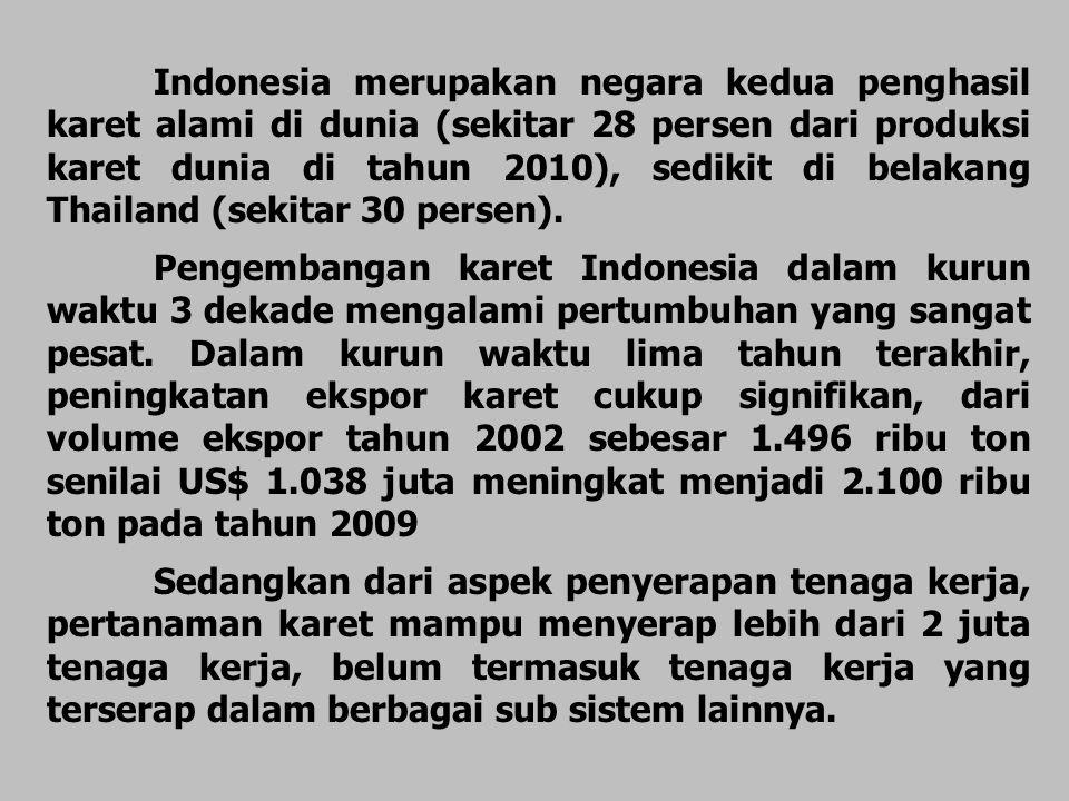 Indonesia merupakan negara kedua penghasil karet alami di dunia (sekitar 28 persen dari produksi karet dunia di tahun 2010), sedikit di belakang Thail