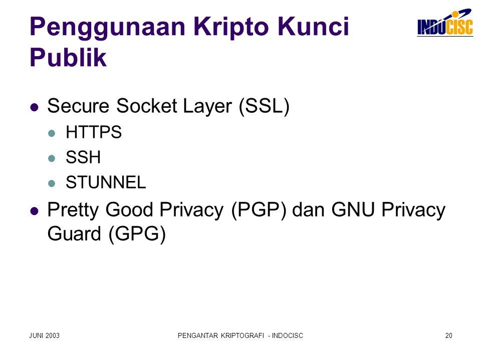 JUNI 2003PENGANTAR KRIPTOGRAFI - INDOCISC20 Penggunaan Kripto Kunci Publik Secure Socket Layer (SSL) HTTPS SSH STUNNEL Pretty Good Privacy (PGP) dan G