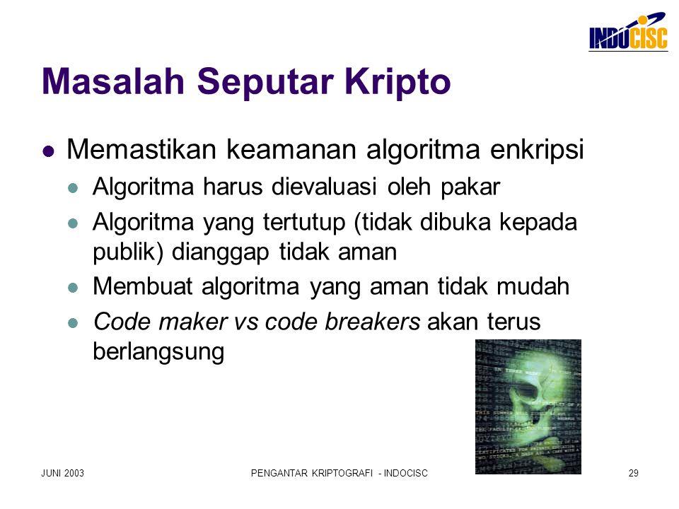 JUNI 2003PENGANTAR KRIPTOGRAFI - INDOCISC29 Masalah Seputar Kripto Memastikan keamanan algoritma enkripsi Algoritma harus dievaluasi oleh pakar Algori