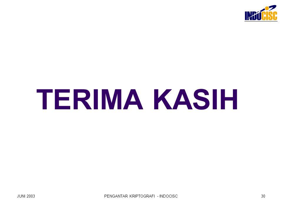 TERIMA KASIH JUNI 2003PENGANTAR KRIPTOGRAFI - INDOCISC30