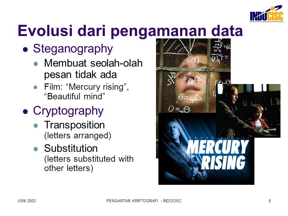 """JUNI 2003PENGANTAR KRIPTOGRAFI - INDOCISC6 Evolusi dari pengamanan data Steganography Membuat seolah-olah pesan tidak ada Film: """"Mercury rising"""", """"Bea"""