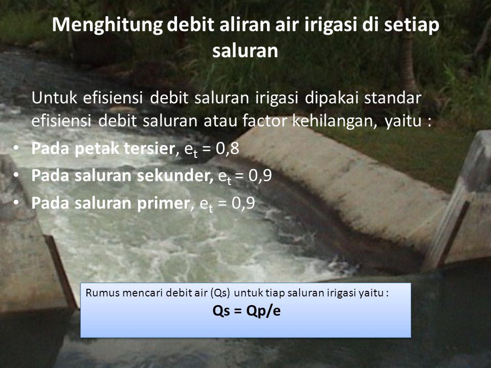 Menghitung debit aliran air irigasi di setiap saluran Untuk efisiensi debit saluran irigasi dipakai standar efisiensi debit saluran atau factor kehila