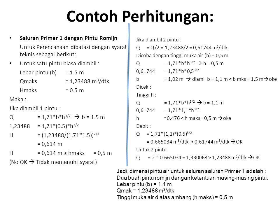 Contoh Perhitungan: Saluran Primer 1 dengan Pintu Romijn Untuk Perencanaan dibatasi dengan syarat teknis sebagai berikut: Untuk satu pintu biasa diamb