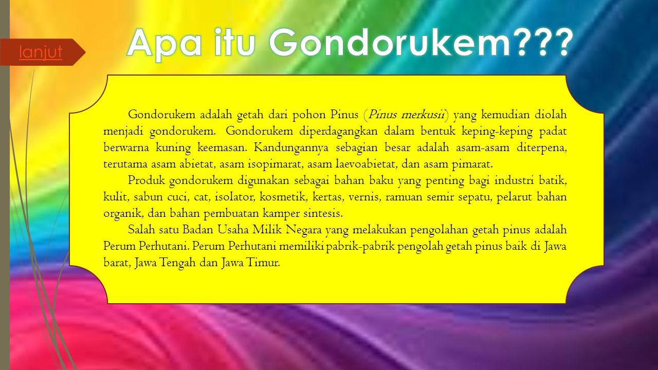 Produk gondorukem yang dihasilkan oleh Perum Perhutani ditujukan untuk kebutuhan dalam negeri dan ekspor.
