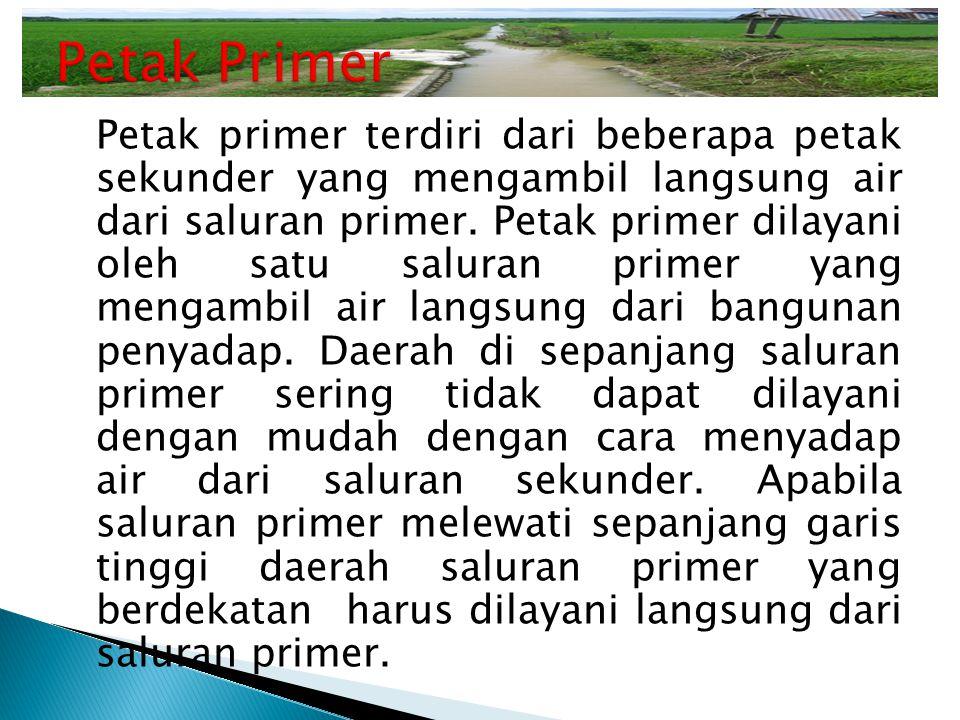 Petak primer terdiri dari beberapa petak sekunder yang mengambil langsung air dari saluran primer. Petak primer dilayani oleh satu saluran primer yang