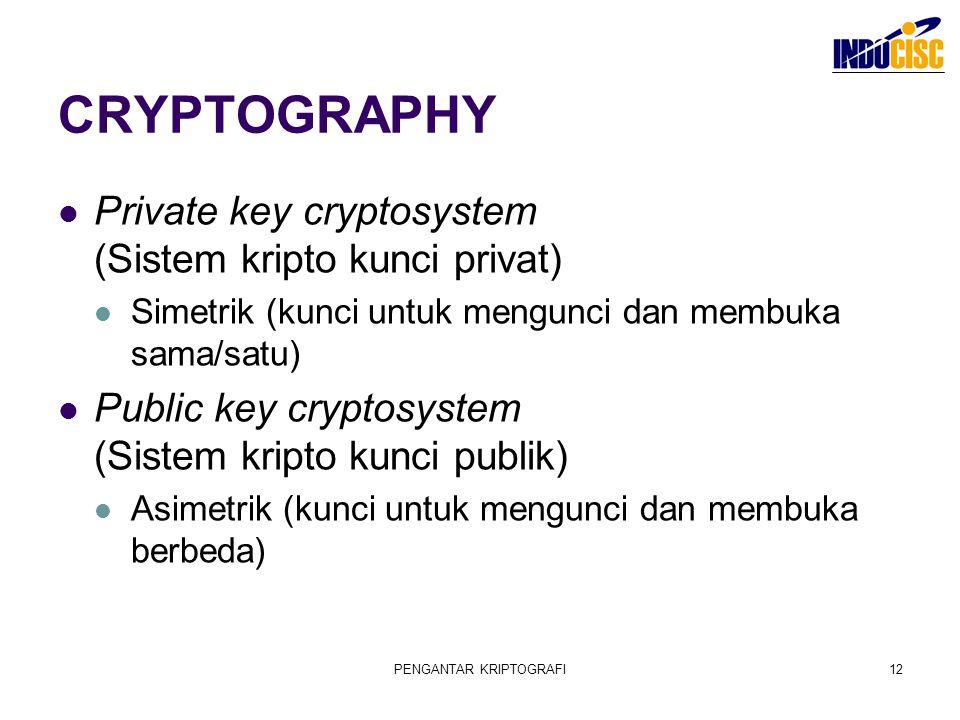 PENGANTAR KRIPTOGRAFI12 CRYPTOGRAPHY Private key cryptosystem (Sistem kripto kunci privat) Simetrik (kunci untuk mengunci dan membuka sama/satu) Publi