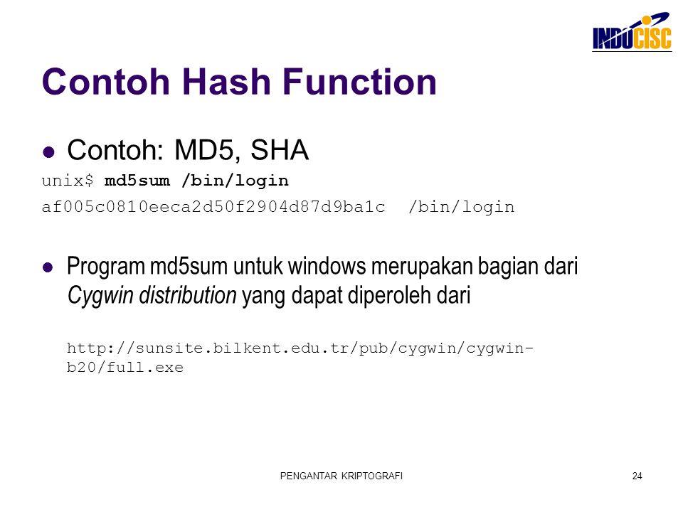 PENGANTAR KRIPTOGRAFI24 Contoh Hash Function Contoh: MD5, SHA unix$ md5sum /bin/login af005c0810eeca2d50f2904d87d9ba1c /bin/login Program md5sum untuk