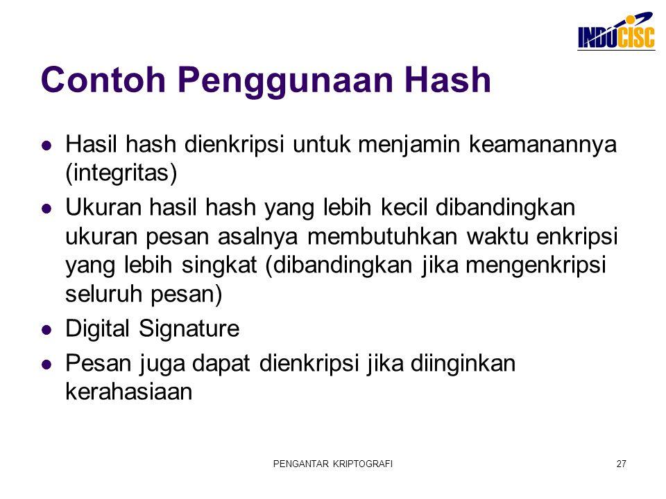 PENGANTAR KRIPTOGRAFI27 Contoh Penggunaan Hash Hasil hash dienkripsi untuk menjamin keamanannya (integritas) Ukuran hasil hash yang lebih kecil diband