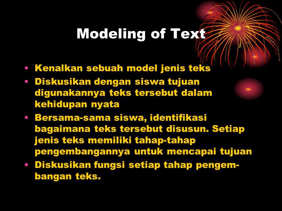 Modeling of Text Kenalkan sebuah model jenis teks Diskusikan dengan siswa tujuan digunakannya teks tersebut dalam kehidupan nyata Bersama-sama siswa, identifikasi bagaimana teks tersebut disusun.