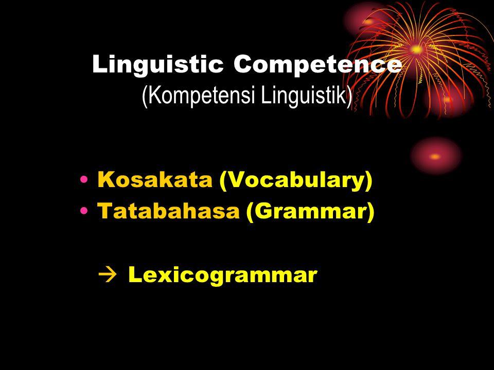 Socio-cultural Competence (Kompetensi Sociokultural) Bahasa dipengaruhi oleh dua konteks: Konteks Situasi (Context of Situation) Konteks Budaya (Context of Culture)