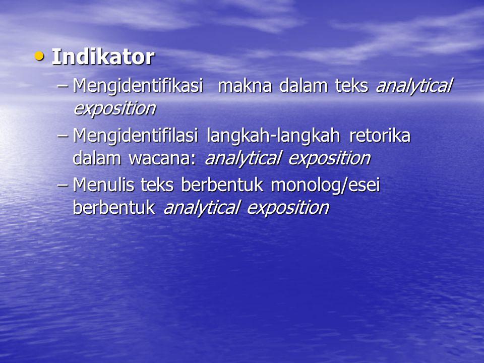 Indikator Indikator –Mengidentifikasi makna dalam teks analytical exposition –Mengidentifilasi langkah-langkah retorika dalam wacana: analytical expos