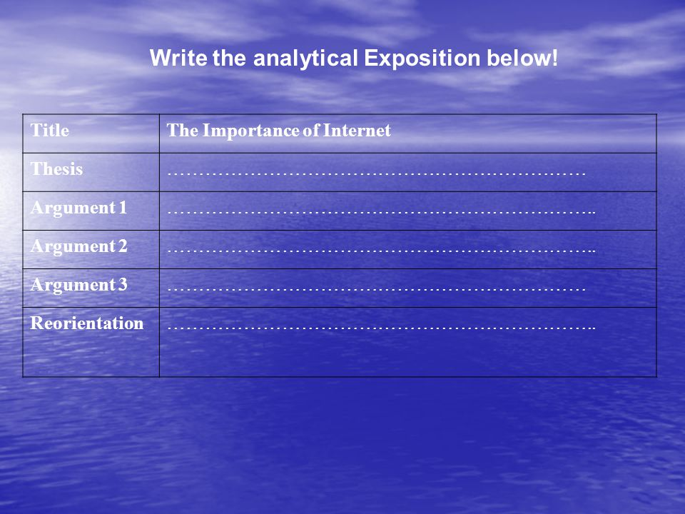 Write the analytical Exposition below! TitleThe Importance of Internet Thesis………………………………………………………… Argument 1………………………………………………………….. Argument 2……………