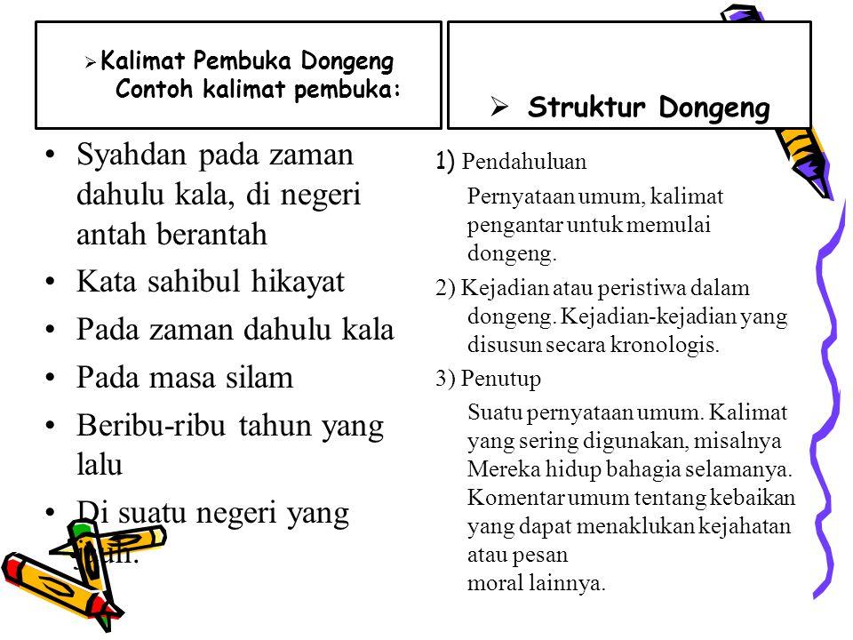 Jenis Dongeng  Dongeng binatang/fabel Fabel adalah dongeng binatang yang mengandung pendidikan tentang perbuatan baik dan buruk.