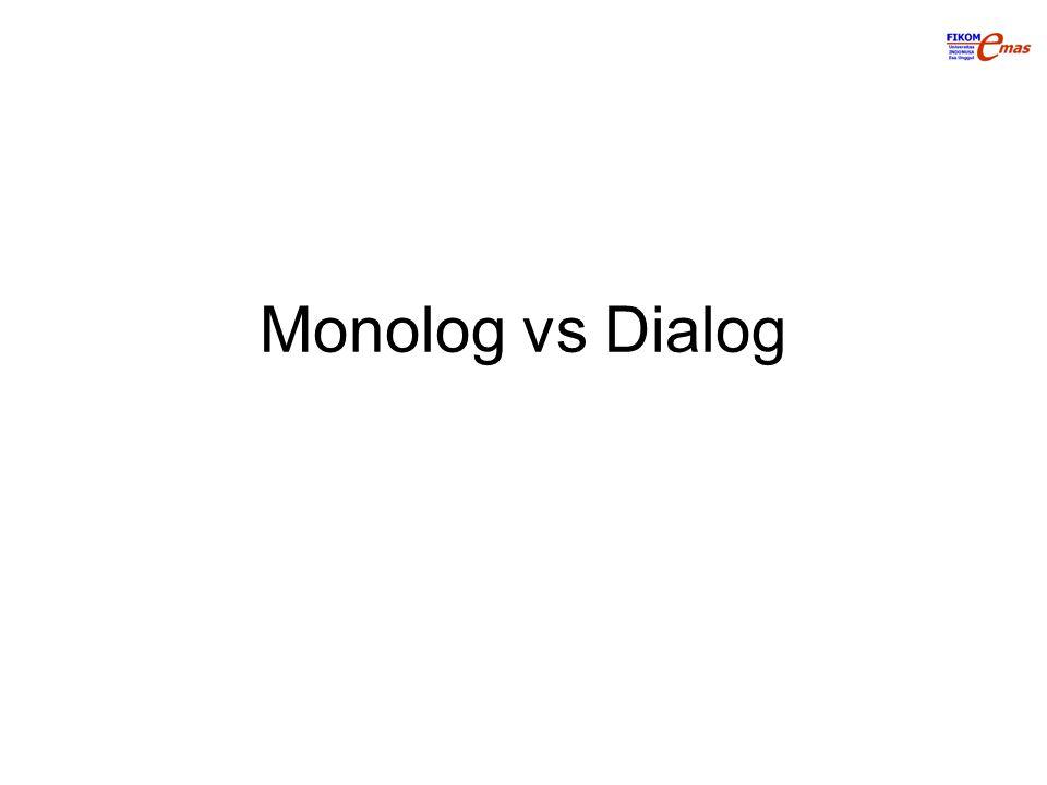 Asal kata: Yunani Monolog: Mono Legein: Berbicara –Hanya satu orang yang menentukan pokok pembicaraan, lainnya diam Dia: Dua Legein: Berbicara –Dua orang berbicara, bergantian menentukan pokok pembicaraan