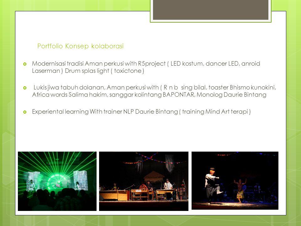 Portfolio Konsep kolaborasi  Modernisasi tradisi Aman perkusi with R5project ( LED kostum, dancer LED, anroid Laserman ) Drum splas light ( toxictone