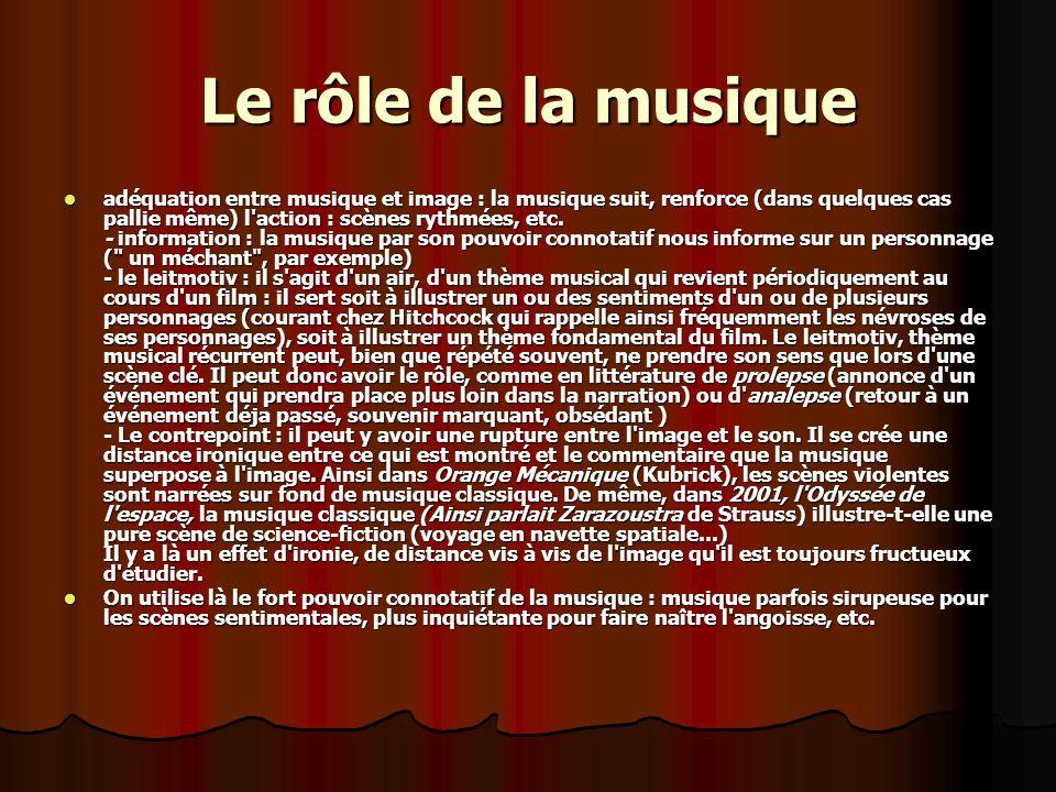 Le rôle de la musique adéquation entre musique et image : la musique suit, renforce (dans quelques cas pallie même) l action : scènes rythmées, etc.
